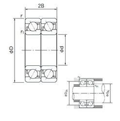 100 mm x 180 mm x 34 mm  NACHI 7220DT angular contact ball bearings