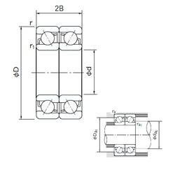 100 mm x 180 mm x 34 mm  NACHI 7220BDF angular contact ball bearings