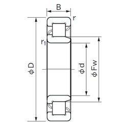 100 mm x 180 mm x 34 mm  NACHI NJ 220 cylindrical roller bearings