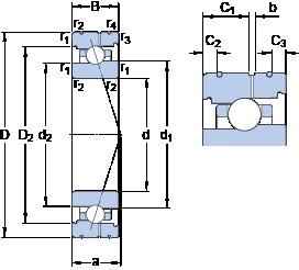 90 mm x 140 mm x 24 mm  SKF 7018 CB/P4AL angular contact ball bearings