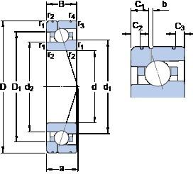 90 mm x 140 mm x 24 mm  SKF 7018 ACE/P4AL1 angular contact ball bearings