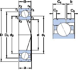 90 mm x 140 mm x 24 mm  SKF 7018 CD/P4AL angular contact ball bearings