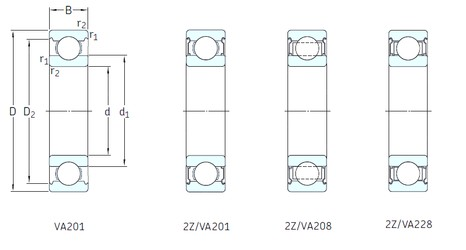 100 mm x 180 mm x 34 mm  SKF 6220/VA201 deep groove ball bearings
