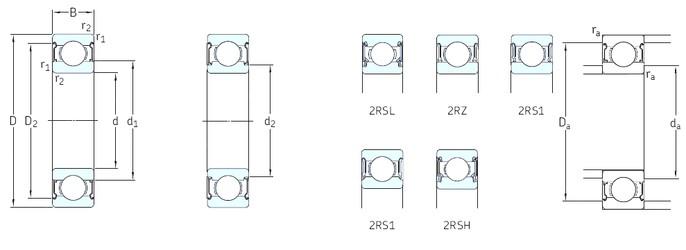 5 mm x 13 mm x 4 mm  SKF W619/5-2RS1 deep groove ball bearings