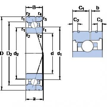 90 mm x 140 mm x 24 mm  SKF 7018 CB/HCP4AL angular contact ball bearings
