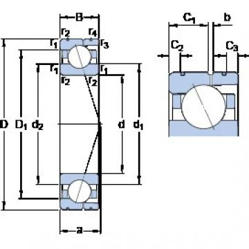 90 mm x 140 mm x 24 mm  SKF 7018 ACD/HCP4AL angular contact ball bearings