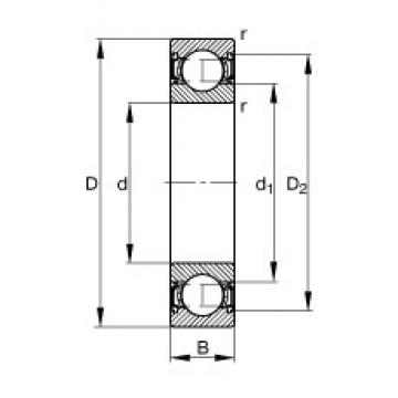 55 mm x 72 mm x 9 mm  FAG 61811-2RSR-Y deep groove ball bearings