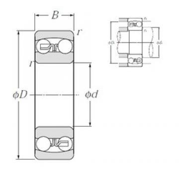 80 mm x 170 mm x 39 mm  NTN 1316S self aligning ball bearings